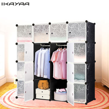 iKayaa US UK FR Stock Multi-use Clothes Closet Wardrobe Living Room Cabinet DIY Cloth Shoes Storage Organizer Furniture