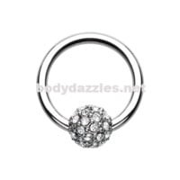 Full Dome Pave Steel Captive Bead Ring 14ga 16ga Belly Ring Cartilage Tragus Daith Helix Rook