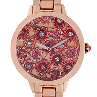 BJS FLORAL FACE ROSE GOLD WATCH