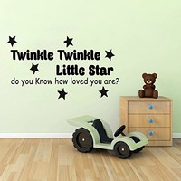 Wall Decals Quotes Vinyl Sticker Decal Quote Star Twinkle Twinkle Little Star do you Know how loved you are Phrase Home Decor Bedroom Art Design Interior NS245