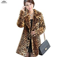 2018 New Winter Women Faux Fur Coat Thick Warm Leopard Mink Fur Coats Jackets High end Luxury Fur Parka Femme Trench coats YA60