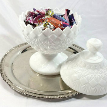 Vintage Westmoreland Milk Glass Candy Dish/Milk Glass Footed Dish with Lid/Shabby Chic Cut Glass Candy Dish/Wedding Decor Dish/Cottage Chic
