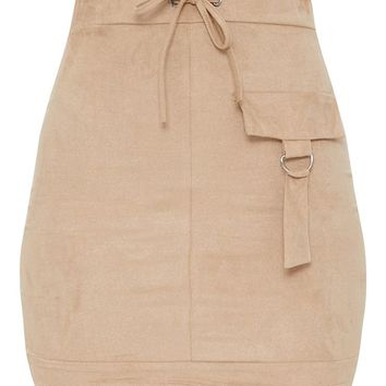 Stone Faux Suede Military Pocket Detail Skirt
