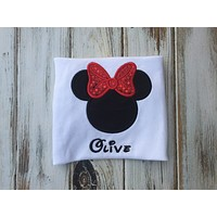 Minnie Mouse head shirt or Onesuit