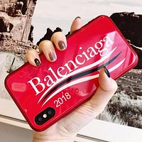 Balenciaga Popular Letter Pattern iPhone Phone Cover Case For iphone 6 6s 6plus 6s-plus 7 7plus iPhone 8 8 Plus iPhone X Red I13562-1