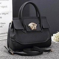 Versace New Popular Women Shopping Bag Leather Handbag Tote Shoulder Bag Crossbody Satchel Black