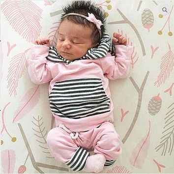 2Pcs Set New Autumn Winter Baby Clothing Newborn Baby Girls Long Sleeve Hoodie Sweatshirt+Pants Stripe Outfits Clothes Set