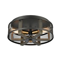 Woodbridge 3-Light Flush Mount in Weathered Oak and Aged Brass with Matte Black Metal Mesh