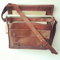 Rugged Leather Messenger Bag Leather Briefcase Office Bag Leather Laptop Bag Women shoulder Bag
