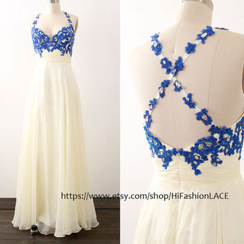 Long Ivory Prom Dress, Spaghetti Straps Lace Chiffon Prom Gown, Royal Blue Formal Dresses, Wedding Bridesmaid Dress