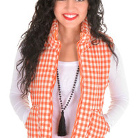 WEEKEND AT THE CABIN VEST IN ORANGE GINGHAM