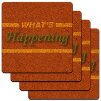 What's Happening Casual Hello Greeting Low Profile Cork Coaster Set