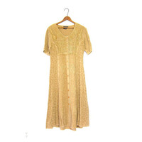 Vintage Golden Hay Yellow Maxi Indian Dress Button Up Embroidered Long Festival Gypsy Short Sleeve Hippie 90s Grunge Ethnic Boho Dress Small