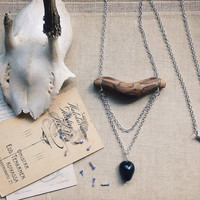 panther wood // wooden bar necklace silver - black agate necklace - wood necklace - wabi sabi natural jewelry - driftwood pendant