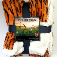 "Bon Iver Collection - Safari Microsherpa Faux Fur Throw, 50"" x 60"""