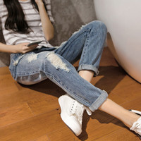 Boyfriend jeans for Women Big Hole Ripped Designer Jeans Denim High Waist jeans women trousers vintage capris pants Plus Size