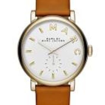 Marc by Marc Jacobs Baker White Dial Leather Ladies Watch MBM1316