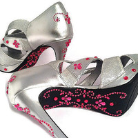 Wedding Shoes , Silver Glitter Bridal Shoes , Rhinestone High Heels , Mother of the Bride, Maid of Honor , Bridesmaid Shoes