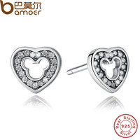 BAMOER 2016 New Collection 925 Sterling Silver Heart Stud Earrings with CZ for Women Compatible With Pan Jewelry PAS415