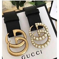 GUCCI Belt Classic production Woman Men Fashion Smooth Buckle Belt Leather Belt + Gift Box-1