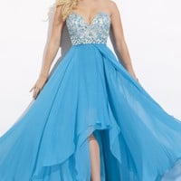 Hi Lo Chiffon Gown by Party Time