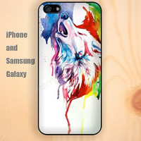 Watercolor colorful wolf iphone 6 6 plus iPhone 5 5S 5C case Samsung S3,S4,S5 case Ipod Silicone plastic Phone cover Waterproof