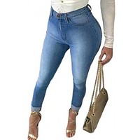 #Women's High Waisted Bottom Ripped Skinny Jeans