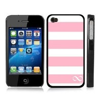 Pink and White Striped Infinity Eternity Snap-On iPhone Cover w/ Black Carrying Hard Plastic Case for iPhone 4/4S