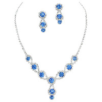 Stunning Y Drop Evening Party Lite Blue Crystal Necklace Earring Bling Rhinestone A3