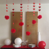 Tulle Garland,Birthday decor,Pompoms,Photo Shoot,heart, tulle pom poms