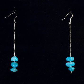 stone and silver long earrings // turquoise- dyed stones on silver- toned chain
