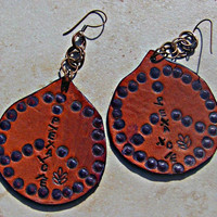 Leather Peace Earrings Hippie Bohemian Direct Checkout