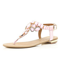 River Island Womens Pink gem stone embellished T bar sandals