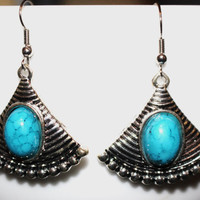 Silver/ Turquoise Stone Fan Shaped Charm Earrings