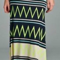Chevron Maxi Skirt - Navy/Neon Green