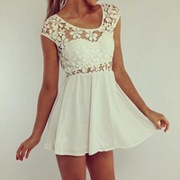 White Patchwork Lace Hollow-out Pleated Short Sleeve Mini Dress