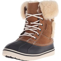 Crocs Womens Allcast Luxe Leather Faux Fur Lined Pac Boots