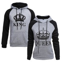 Pregnancy Clothes Set King Queen Printed Cotton Hoodies Lovers Winter Causal Sweatshirt Hooded Sweatshirt Pullovers Tracksuits