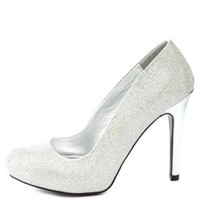 Qupid Glitter Mesh Pumps by Charlotte Russe - Silver