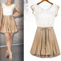 SPRING SUMMER NEW WOMENS COURT STYLE RETRO LACE SLEEVELESS VEST DRESS 3 SIZE