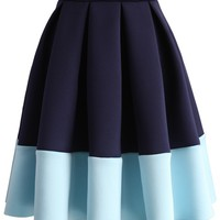 Blue Tones Airy Pleated Skirt