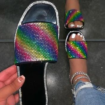 New style flat slippers Rhinestone colorful ladies sandals