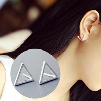 925 Silver Stylish Simple Design Geometric Korean Hollow Out Strong Character Earrings [10444668692]