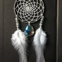 Silver dreamcatcher with white feathers, white web and & crystal sun catcher charm finish 7cm diameter dream catcher hand made
