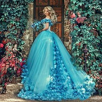 2020 Light Blue Quinceanera Dresses Ball Gown Tulle 15 anos Flowers Fluffy Off The Shoulder Evening Dresses Sweet 18 Prom Dress