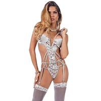 So Sensual Chantilly Lace and Satin Gartered Strappy Teddy with Stockings