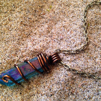 Wire Wrapped Aqua Aura Crystal Necklace Aura Crystal Point Necklace Raw Crystal Healing Crystals and Stones Wrapped Boho Crystal Pendant