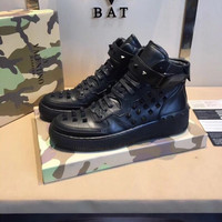 Valentino Men's Leather Fashion High Top Sneakers Shoes
