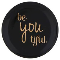 """Women's Round Ceramic Trinket Tray with """"be you tiful"""" Text - Black"""