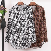 Fendi Women Fashion New More Letter Print Long Sleeve Top Shirt White